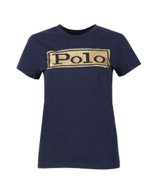 Polo Ralph Lauren Womens Blue Sequin Logo T Shirt