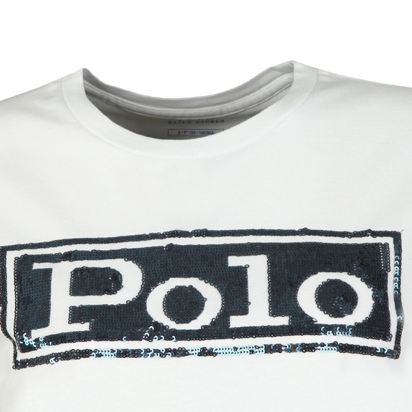 Polo Ralph Lauren Womens White Sequin Logo T Shirt