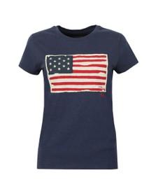 Polo Ralph Lauren Womens Blue Flag T Shirt