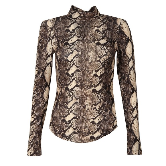 French Connection Womens Black Animal Skin Printed Top main image