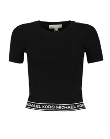 Michael Kors Womens Black MK Graphic Crew Crop Top