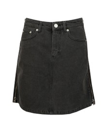 French Connection Womens Black Pepper Denim Zip Side Mini Skirt