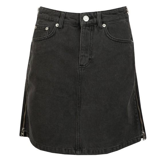 French Connection Womens Black Pepper Denim Zip Side Mini Skirt