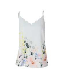 Ted Baker Womens White Ziina Elegance Scallop Cami Top