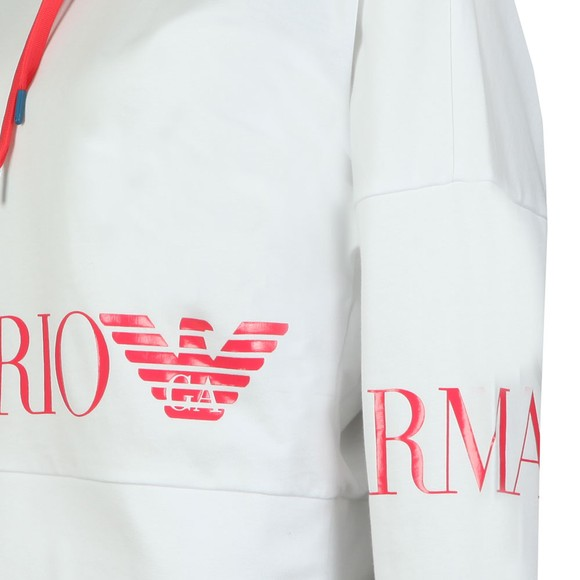 EA7 Emporio Armani Womens White Logo Overhead Hoody main image
