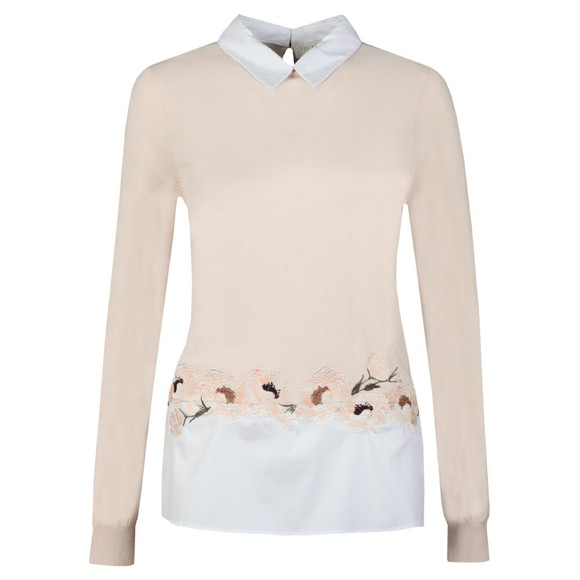 Ted Baker Womens Pink Serynaa Embroidery Detail Mockable Jumper main image