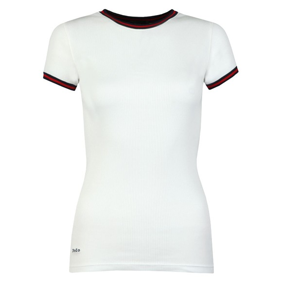 Polo Ralph Lauren Womens White Ribbed Ringer T Shirt