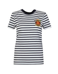 Polo Ralph Lauren Womens White Marine Logo Stripe T Shirt