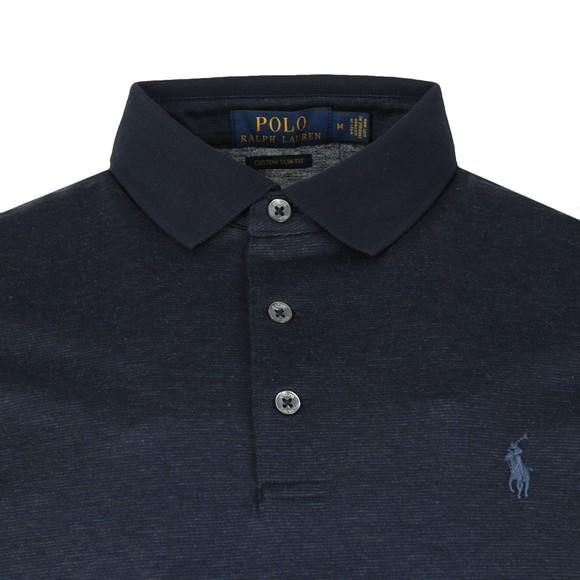 Polo Ralph Lauren Mens Blue Mercerised Feeder Polo Shirt