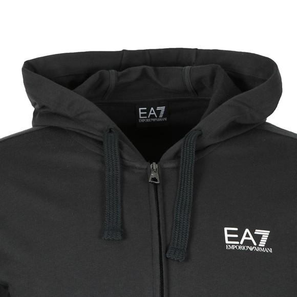 EA7 Emporio Armani Mens Blue Full Zip Small Rubber Logo Hoody main image