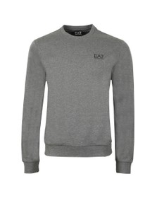 EA7 Emporio Armani Mens Grey Small Rubber Logo Sweatshirt
