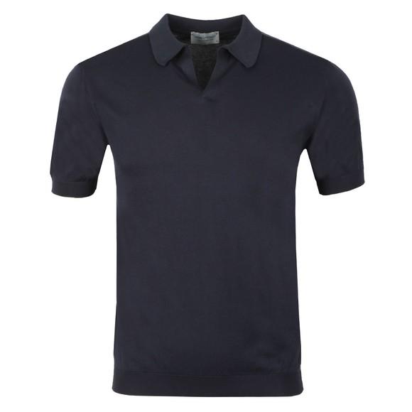 John Smedley Mens Blue Noah Skipper Collar Shirt SS