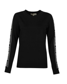 Michael Kors Womens Black MK Stripe Sleeve Crew Sweat