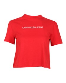 Calvin Klein Jeans Womens Red Organic Cotton Cropped T-Shirt