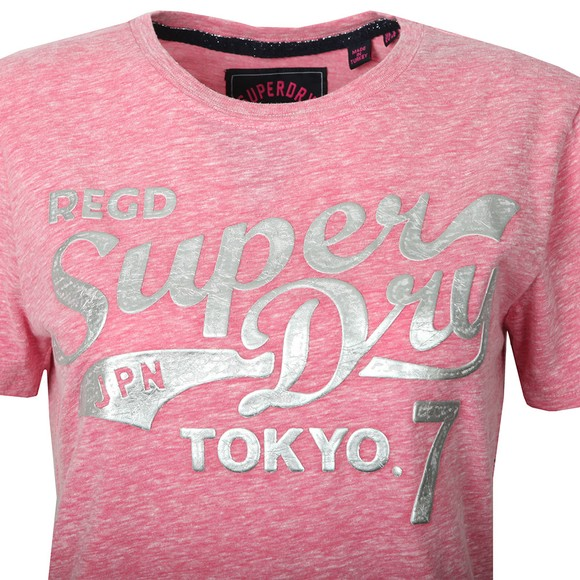 Superdry Womens Pink Tokyo 7 Textured Foil Entry T Shirt main image