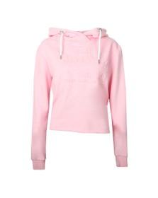 Superdry Womens Pink Vintage Logo Emboss College Crop Hoody