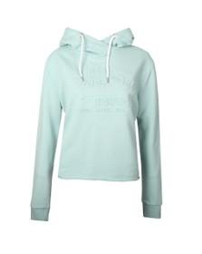 Superdry Womens Grey Vintage Logo Emboss College Crop Hoody