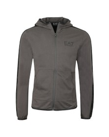 EA7 Emporio Armani Mens Grey Shoulder Logo Full Zip Hoody