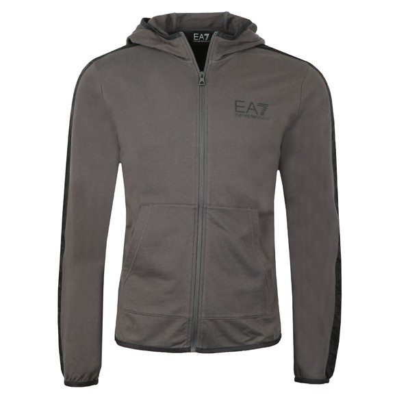 EA7 Emporio Armani Mens Grey Shoulder Logo Full Zip Hoody main image