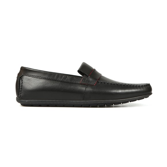 HUGO Mens Black Dandy Leather Moccasin