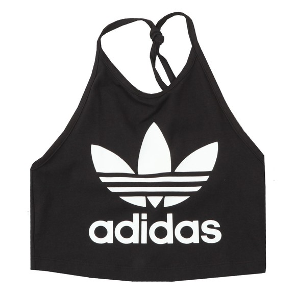 adidas Originals Womens Black Trefoil Halter Neck Top