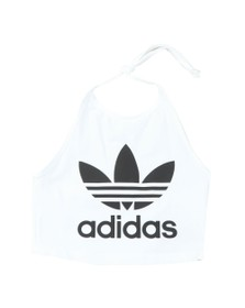 adidas Originals Womens White Trefoil Halter Neck Top