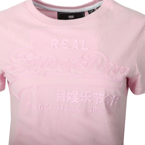 Superdry Womens Pink Vintage Logo Tonal Entry Tee main image