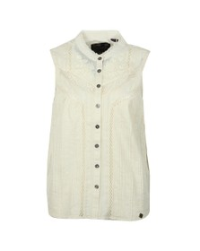 Superdry Womens Off-White Lace Mixing Sleeveless Shirt