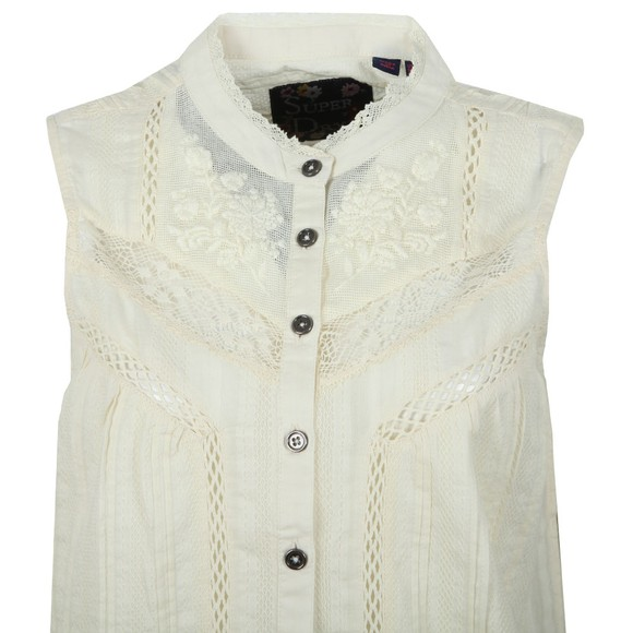 Superdry Womens Off-White Lace Mixing Sleeveless Shirt main image