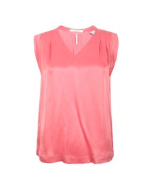 Maison Scotch Womens Pink Pleated Sleeveless Top