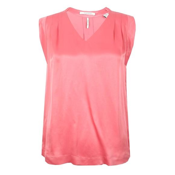 Maison Scotch Womens Pink Pleated Sleeveless Top
