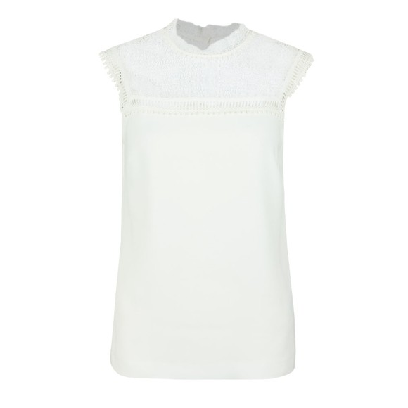 Ted Baker Womens Off-White Clairy Lace Detail Ruffle Top