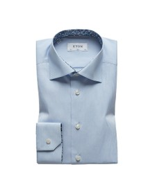 Eton Mens Blue Poplin Stripe Flower Detail Shirt