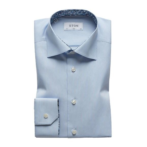 Eton Mens Blue Poplin Stripe Flower Detail Shirt main image