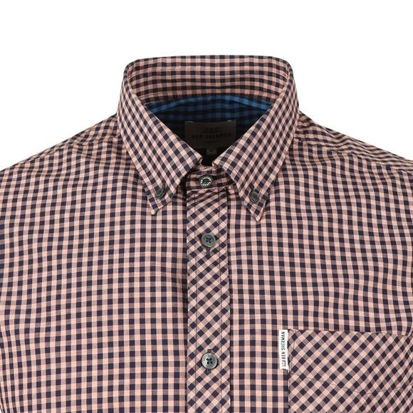 Ben Sherman Mens Orange S/S Gingham Check Shirt main image