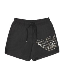 Emporio Armani Mens Black Large Logo Swim Shorts