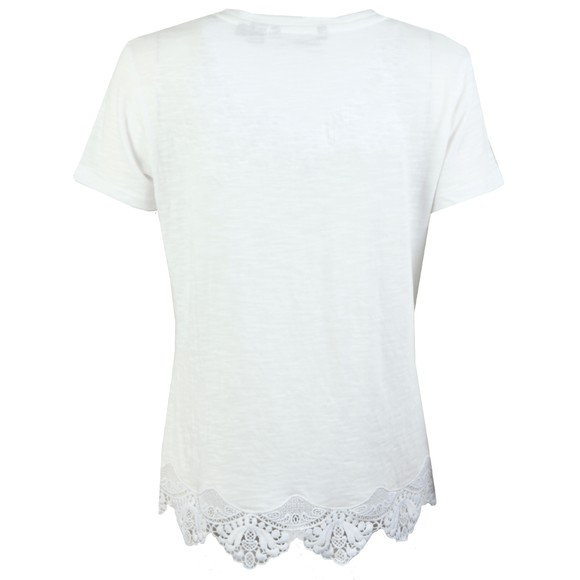 Superdry Womens White Morocco Lace Hem Tee main image