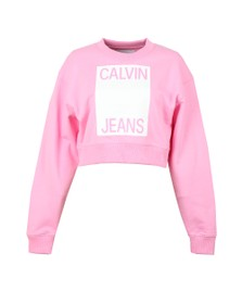 Calvin Klein Jeans Womens Pink Cropped Calvin Jeans Sweatshirt