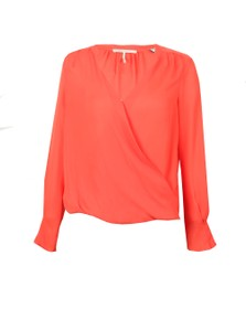 Maison Scotch Womens Orange Crossover V-Neck Top