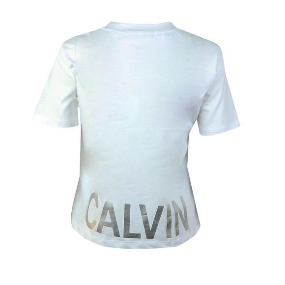 Calvin Klein Jeans Womens White Metallic Cut Off Calvin T Shirt main image