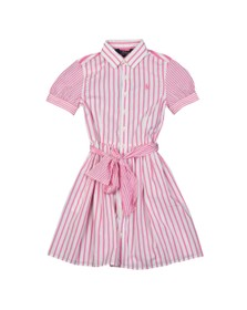 Polo Ralph Lauren Girls Pink Stripe Bow Shirt Dress