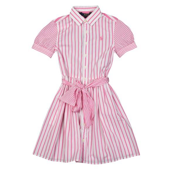 Polo Ralph Lauren Girls Pink Stripe Bow Shirt Dress