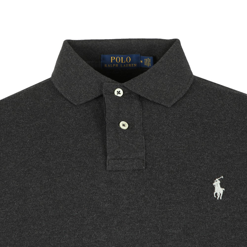 62ab9ff1 Mens Grey Long Sleeve Slim Fit Polo Shirt