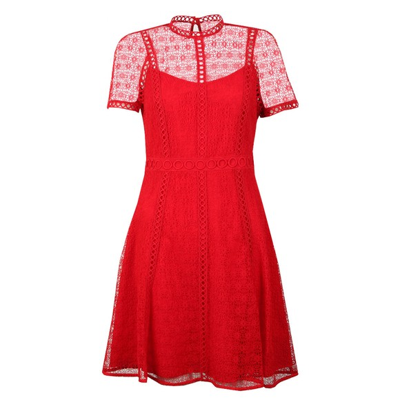 Michael Kors Womens Red Crochet Dress main image