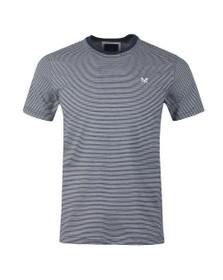 Crew Clothing Company Mens Blue Fine Stripe Tee