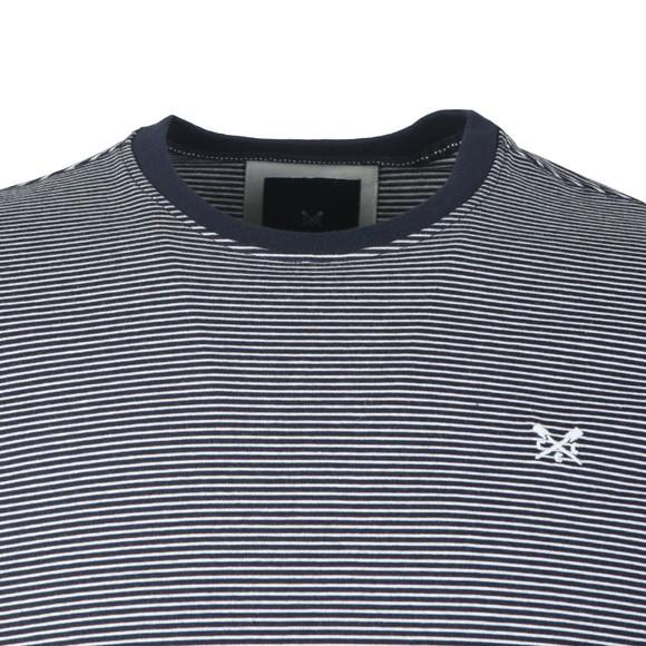 Crew Clothing Company Mens Blue Fine Stripe Tee main image