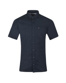 Tommy Hilfiger Mens Blue SS Stretch Poplin Shirt