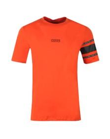 HUGO Mens Orange Durned U6 Chest Logo T Shirt
