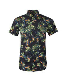 Scotch & Soda Mens Black Patterned Short Sleeve Shirt