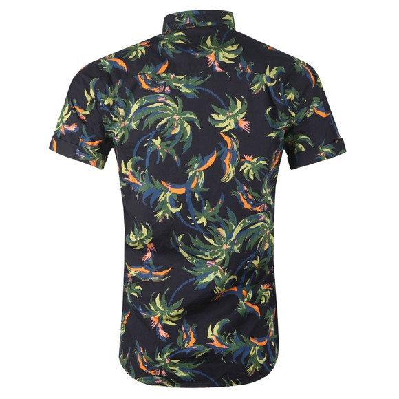 Scotch & Soda Mens Blue Patterned Short Sleeve Shirt main image